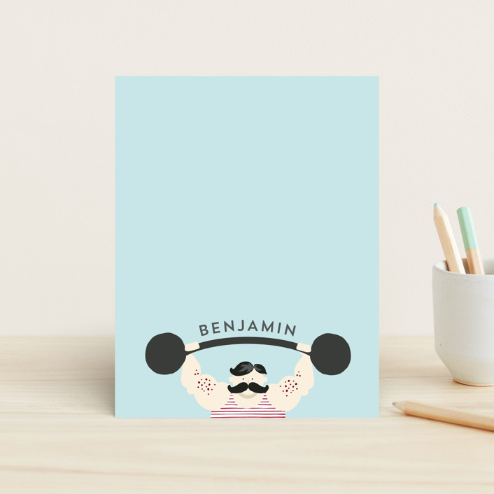 """Strong Man"" - Whimsical & Funny Children's Stationery in Sky by JeAnna Casper."