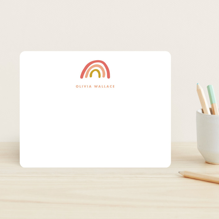 """""""Rainbow dream"""" - Whimsical & Funny Children's Stationery in Sorbet by Stacey Meacham."""