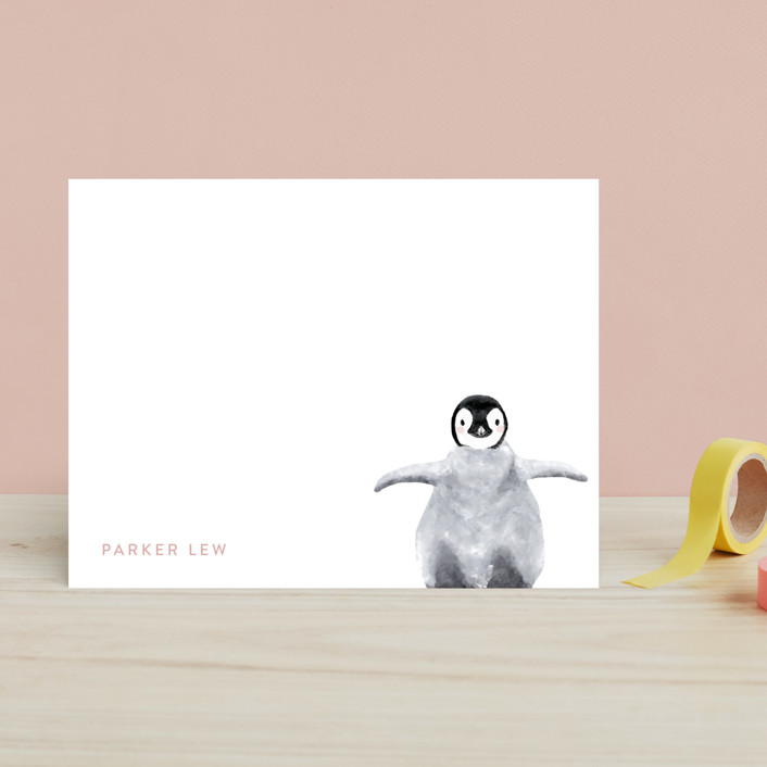 """Baby Animal Penguin"" - Modern, Whimsical & Funny Children's Stationery in Blush by Cass Loh."