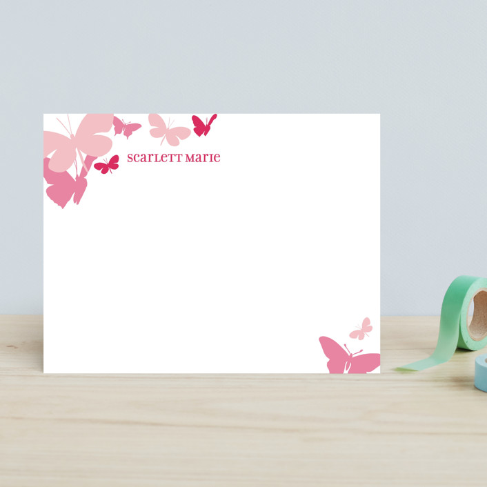 """Butterfly Gathering"" - Whimsical & Funny Children's Stationery in Raspberry by danielleb."