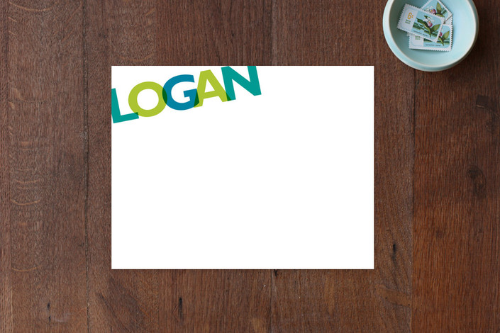 """""""Ethan"""" - Bold typographic, Modern Children's Stationery in Teal by Sarah Lenger."""