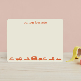 Orange Cars Children's Stationery