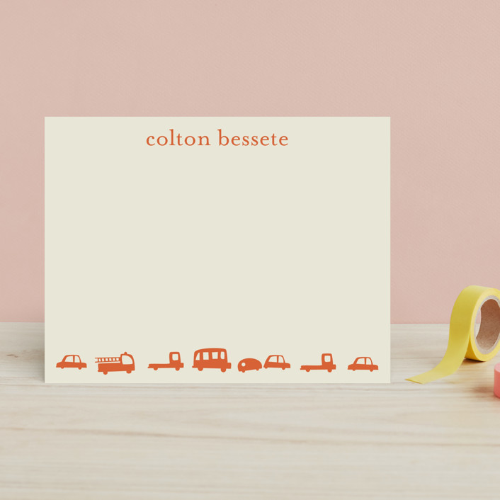 """""""Orange Cars"""" - Whimsical & Funny Children's Stationery in Tangerine by Baumbirdy."""