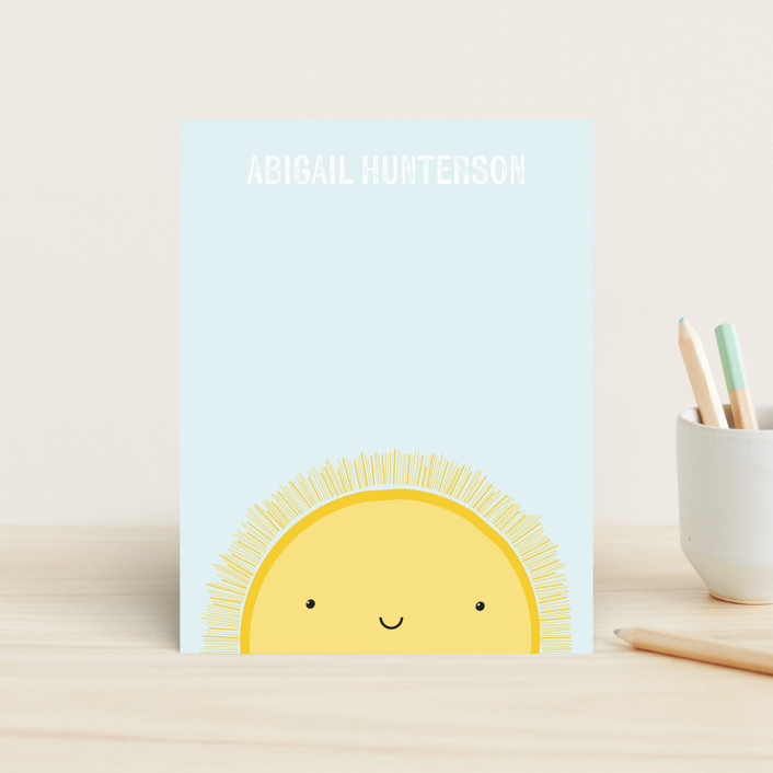 """Sunshine"" - Children's Stationery in Periwinkle by megan monismith."