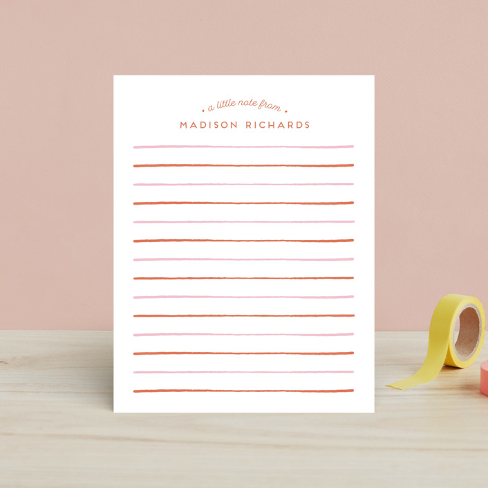 """Striped"" - Children's Stationery in Sherbet by Shirley Lin Schneider."