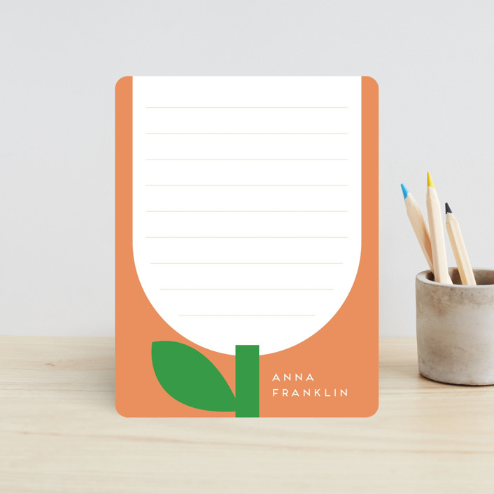 """""""White flower"""" - Whimsical & Funny Children's Stationery in Peach by Alexandra Dzh."""