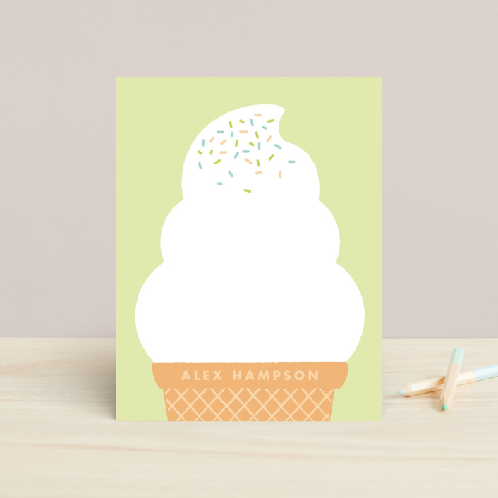 """Ice Cream Dream"" - Preppy, Whimsical & Funny Children's Stationery in Icicle by Cheer Up Press."