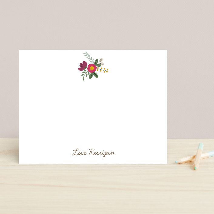 """""""Pretty Posie"""" - Floral & Botanical, Minimalist Children's Stationery in Pink Candy by That Girl Press."""