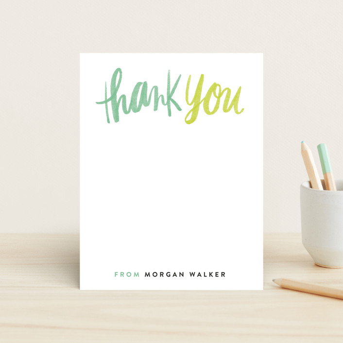 """""""Thank You Script"""" - Bold typographic Children's Stationery in Cactus by Alethea and Ruth."""