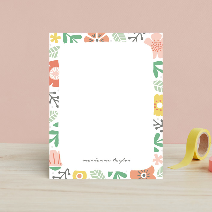 """Floral Garden"" - Children's Stationery in Tangerine by Michelle Taylor."