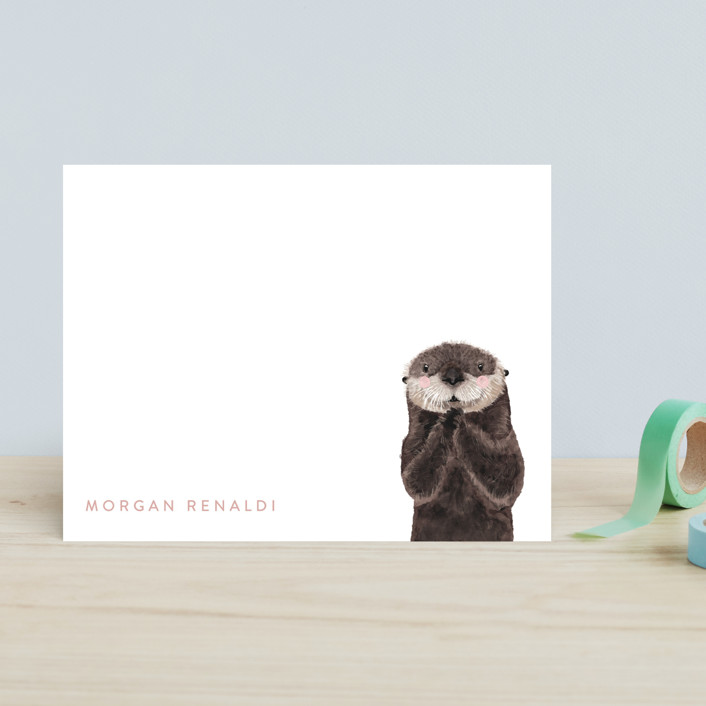 """""""Baby Animal Sea Otter"""" - Modern, Whimsical & Funny Children's Stationery in Blush by Cass Loh."""