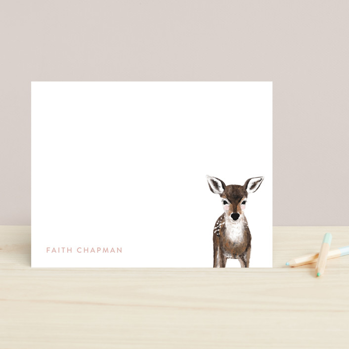 """Baby Animal Deer"" - Modern, Whimsical & Funny Children's Stationery in Blush by Cass Loh."