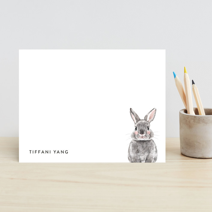 """Baby Animal Rabbit"" - Modern, Whimsical & Funny Children's Stationery in Pebble by Cass Loh."