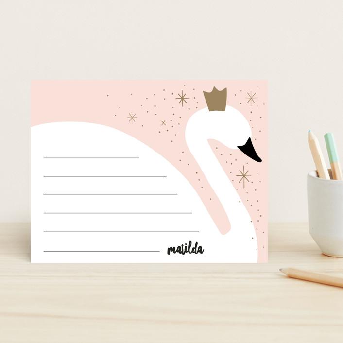 """Swan"" - Whimsical & Funny Children's Stationery in Blush by JeAnna Casper."