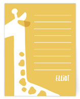 This is a yellow kids thank you cards note by JeAnna Casper called Giraffe with standard printing on signature in standard.