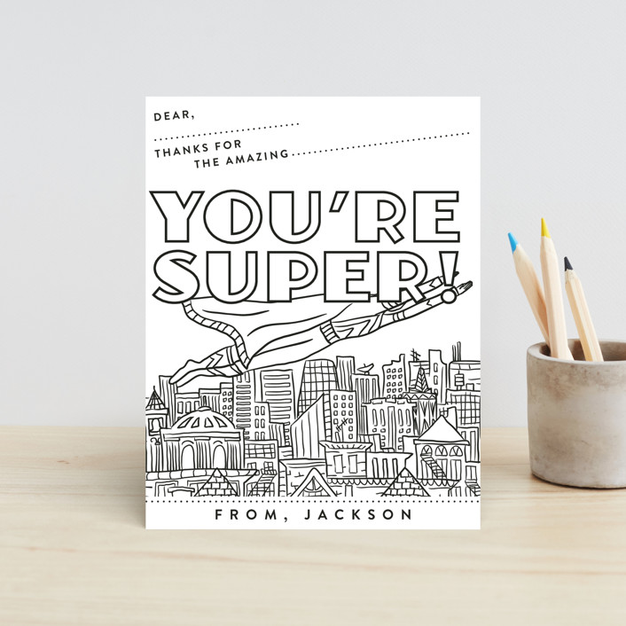 """You're Super"" - Hand Drawn Children's Stationery in Jet Black by Shiny Penny Studio."