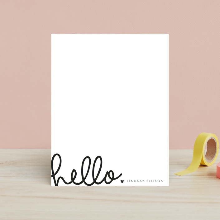 """""""Handwritten Hello"""" - Simple, Simple Children's Stationery in Midnight by Bethan."""
