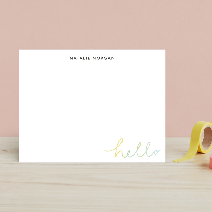 """Summer Hello"" - Children's Stationery in Teal by Lea Velasquez."