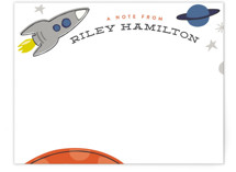 This is a blue kids thank you cards note by Griffinbell Paper Co. called Mission To Mars with standard printing on signature in standard.