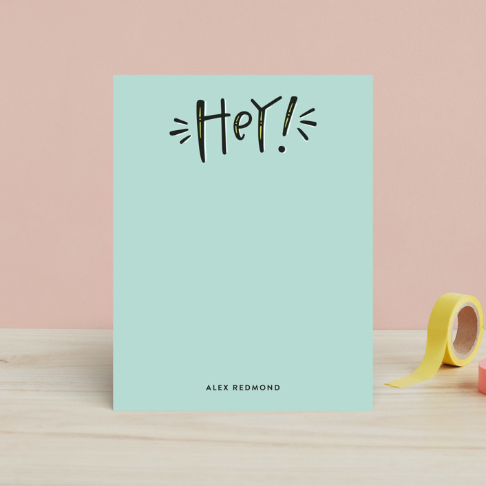"""""""Graphic Hey"""" - Children's Stationery in Robin's Egg by Olivia Goree."""