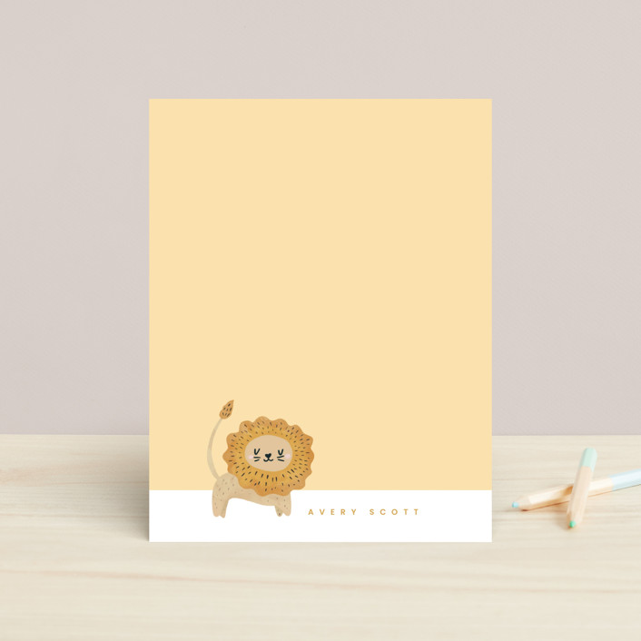 """""""Mighty Lion"""" - Children's Stationery in Carrot by Adelyn T.."""