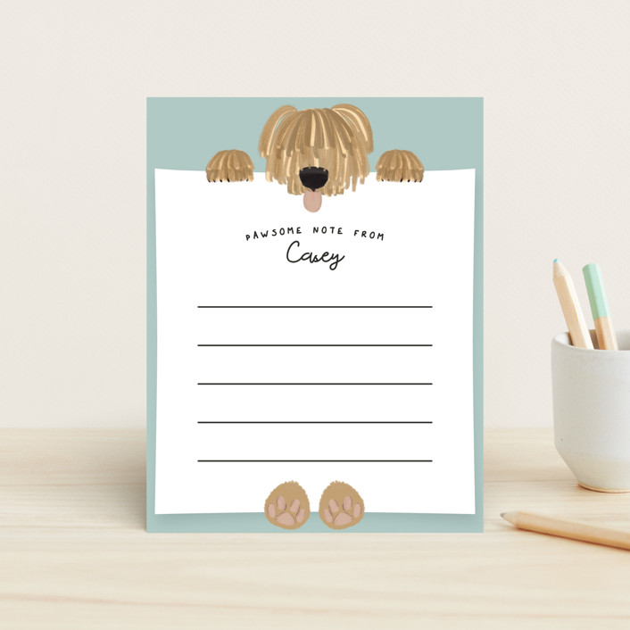 """""""Warm Pawsome Note"""" - Whimsical & Funny Children's Stationery in Aqua by Gwen Bedat."""