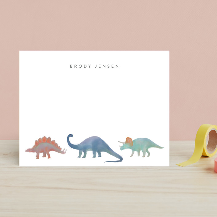 """""""Dinosaur Parade"""" - Whimsical & Funny Children's Stationery in Lagoon by Joanna Griffin."""