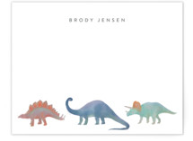 This is a blue kids thank you cards note by Joanna Griffin called Dinosaur Parade with standard printing on signature in standard.