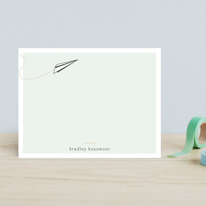 """float + taking off"" - Simple, Classical Children's Stationery in Soft Mint by Float Paperie."