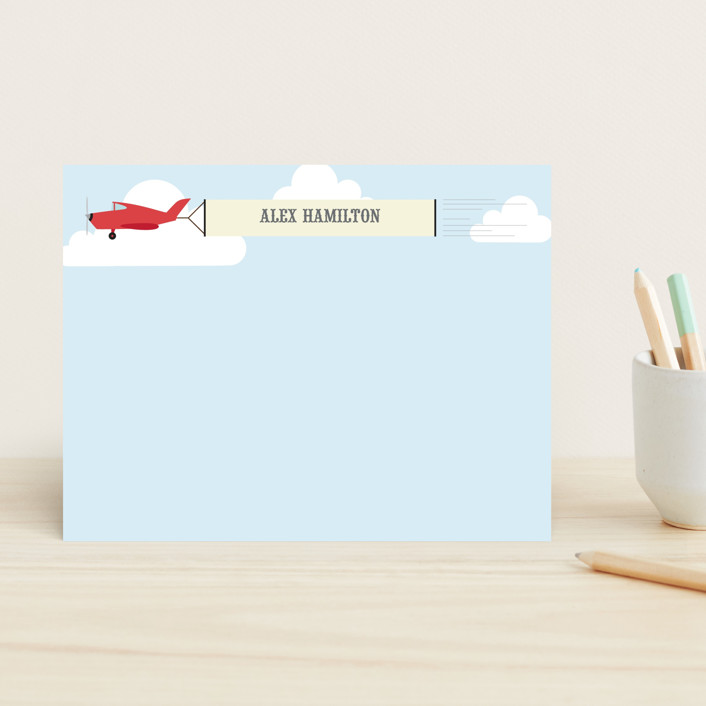 """""""In the Clouds"""" - Whimsical & Funny Children's Stationery in Pale Carmine by Ann Gardner."""
