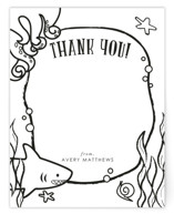 This is a black and white kids thank you cards note by Itsy Belle Studio called Underwater Cavern with standard printing on signature in standard.