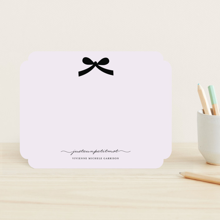 """""""Paris + Vintage Ribbon"""" - Classical, Minimalist Children's Stationery in Soft Iris by Emily Ranneby."""