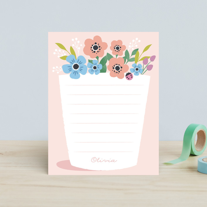 """You grow girl"" - Children's Stationery in Rose by Karidy Walker."