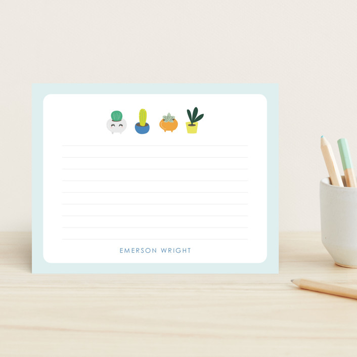 """""""Playful Plants"""" - Children's Stationery in Blueball by Itsy Belle Studio."""