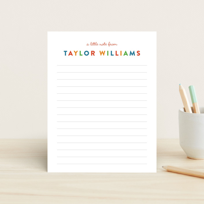 """Bright Notes"" - Simple Children's Stationery in Classic by Sarah Curry."