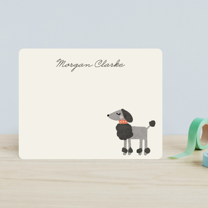 """""""Fancy Dog"""" - Whimsical & Funny, Preppy Children's Stationery in Orange Creamsicle by August and Oak."""