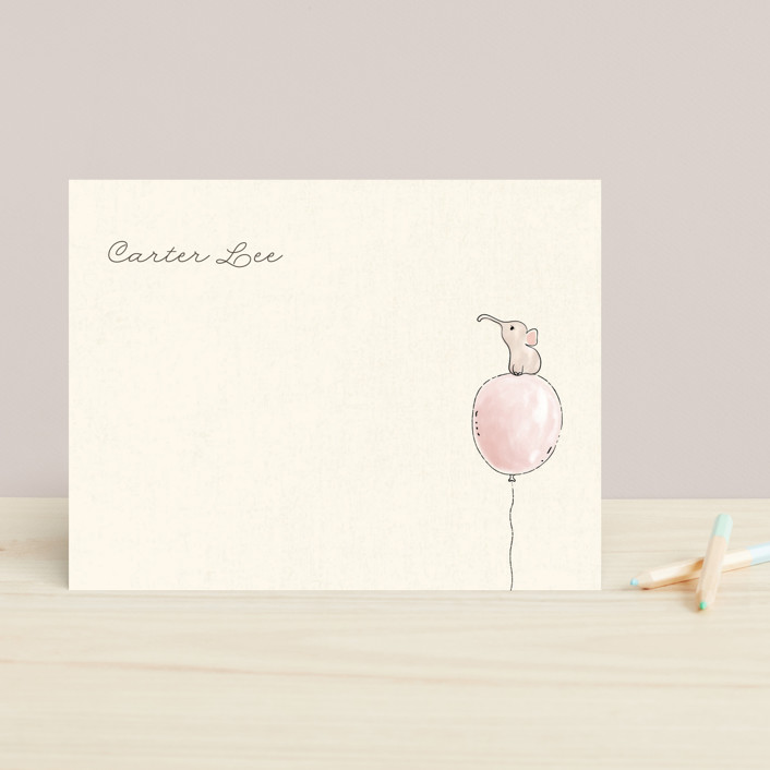 """Francesce"" - Hand Drawn, Whimsical & Funny Children's Stationery in Blush by chocomocacino."