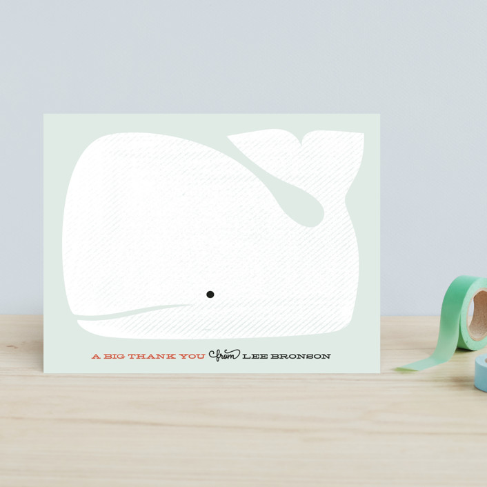 """Friendly Whale"" - Preppy, Modern Children's Stationery in Soft Sea by Kimberly Morgan."
