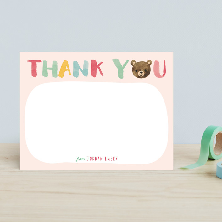 """Little Bear Thank You"" - Hand Drawn Children's Stationery in Ocean by Four Wet Feet Studio."