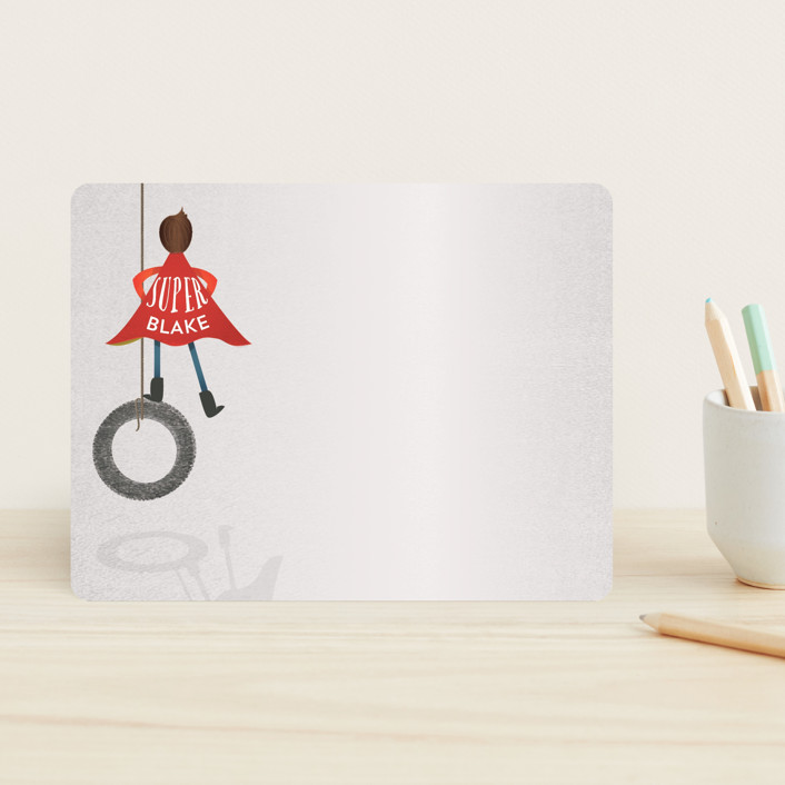 """Super Imagination Boy"" - Hand Drawn, Whimsical & Funny Children's Stationery in Brunette by Grace Kreinbrink."