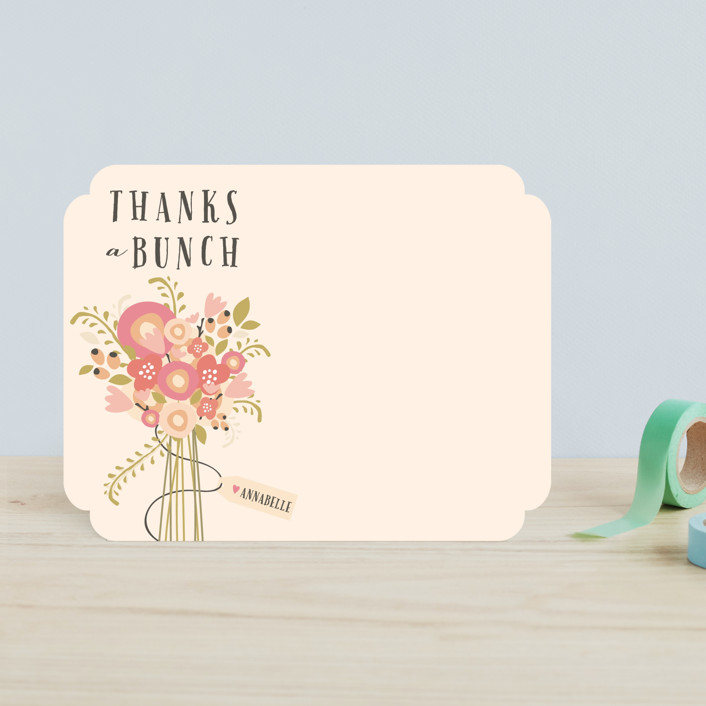 """Thankful Bunch"" - Floral & Botanical Children's Stationery in Coral Rose by Grace Kreinbrink."