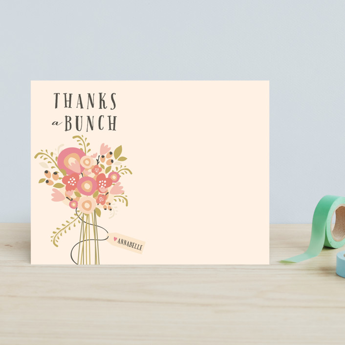 """""""Thankful Bunch"""" - Floral & Botanical Children's Stationery in Coral Rose by Grace Kreinbrink."""