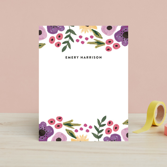 """""""Watercolor Flowers"""" - Floral & Botanical Children's Stationery in Floral Bouquet by August and Oak."""