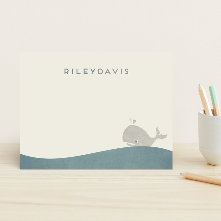 """Whale Tale"" - Preppy Children's Stationery in Sea Glass by Sara Heilwagen."