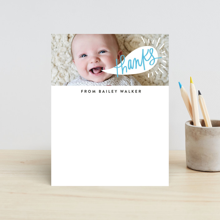 """Word Bubble"" - Whimsical & Funny, Funny Children's Stationery in Wave by Alethea and Ruth."
