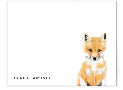 Baby Animal Fox Children's Personalized Stationery
