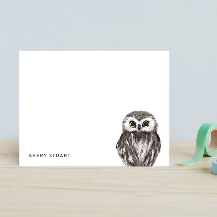 """""""Baby Animal Owl"""" - Modern, Whimsical & Funny Children's Stationery in Snowball by Cass Loh."""
