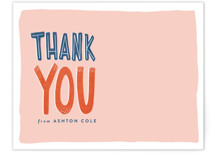 This is a pink kids thank you cards note by Melissa Egan of Pistols called Audrey with standard printing on signature in standard.