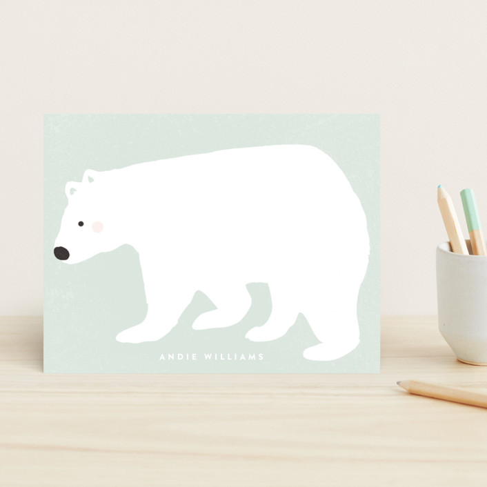 """""""Big Polar Bear"""" - Hand Drawn, Whimsical & Funny Children's Stationery in Aqua by August and Oak."""
