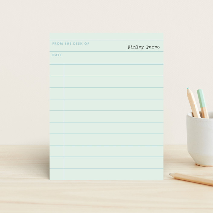 """""""Marian the Librarian"""" - Simple, Vintage Children's Stationery in Pool by Meryl Arnold."""